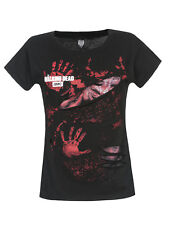 The Walking Dead LOGO BLOOD HAND PRINTS Ladies Ripped Top schwarz