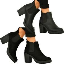 NEW WOMENS LADIES CHUNKY BLOCK HEEL GRIP SOLE CHELSEA ANKLE BOOTS SHOES SIZE 3-8