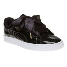 New Womens Puma Black Basket Heart Patent Pu Trainers Court Lace Up