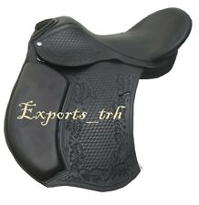 Black Leather Treeless GP (jumping) Saddle with Carving, along with accessory