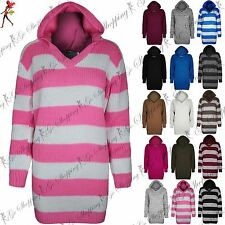 Womens Chunky Knitted Long Sleeves Hooded Long Block Stripes Ladies Jumper Top