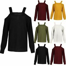 Womens Long Sleeve Baggy Knit Sweater Ladies Oversized Strappy Shoulder Jumper