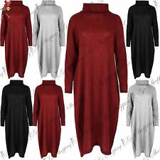 Ladies Oversized Shell Top Womens Baggy High Low Cowl Neck Midi Dress UK 8-22