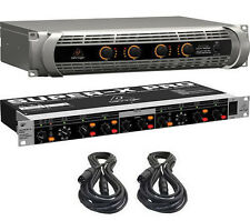 Behringer NU4-6000 4-Ch Power Amplifier Amp, CX2310 3-Way Crossover & XLR Cables