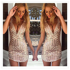 Womens Sexy Sequins Deep V Neck Bandage Bodycon Club Cocktail Party Mini Dress