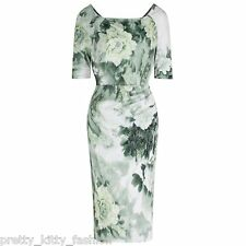 PRETTY KITTY 40s GREEN FLORAL 1/2 SLEEVE WIGGLE PENCIL VINTAGE COCKTAIL DRESS
