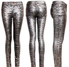 NEW SEXY WOMEN'S GIRLS LADIES SUPER BLACK SNAKE PRINT JEAN SKINNY FIT TROUSERS