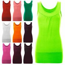 Ladies Sleeveless Ruched Vest Stretch Womens Gather Neck Ruched Long T Shirt Top