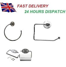 Wall Mounted Chrome Towel Ring Holder Bathroom Accessory Kitchen Cloth Fixings