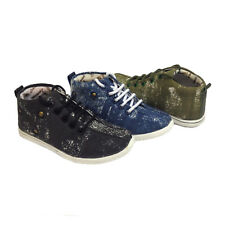 Boys Lads Kids High Top Trainers Sneakers Lace Up Canvas Ankle Boots Trendy Size
