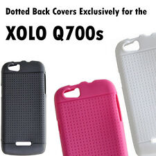 Coloured Dotted Matte Soft Silicon Back Cover Cases for Xolo Q700s