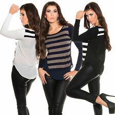 Mujer 2-in-1 Suéter Jersey Suéter Camisa Crepe Blusa Capas Aspecto Fino S 34 36