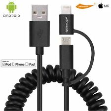 2in1 MFI 8 Pin Lightning + Micro USB Charging Cable Sync Data For iPhone Android