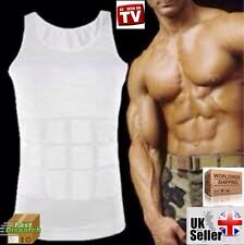 MENS BODY SHAPER WHITE SHIRT VEST WAIST GIRDLE BUSTER SLIM TANK TOP FAT BELLY