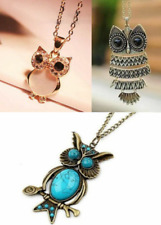 Fashion Trendy Owl Crystal Gem Natural StonePendant NecklaceUK Seller