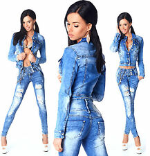 Sexy Womens Stylish Wash Cropped Jacket / Jeans Skinny Slim Mid Waist N 595