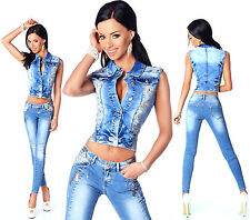 Sexy Women's Stylish Wash Cropped Jacket / Jeans Skinny Slim Low Waist R 594