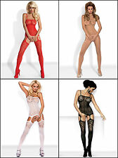 OBSESSIVE F204 Luxury Super Soft Patterned Bodystocking - Available in 4 Colours