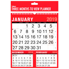 2017/2018 Weekly Monthly Easy 3 Months To View/Calendar/Wall Hanging Planner