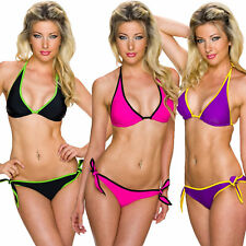 Donna Bikini Set Triangolo Top Laccio Al Collo Canottiera Mini Mutandine