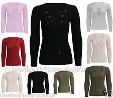 Tie Lace Up Womens V Neck Ribbed Stretched Knitted Long Sleeve Jumper Top Blouse