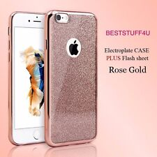 GLITTER BACK Fits IPhone  Soft Bling Shock Proof Silicone Case Plating Frame a40