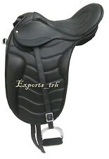 Latest design Black Leather Dressage Treeless Saddle with attractive accessories