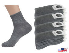 New 6,12 Pairs Mens Womens Cushion Quarter Crew Ankle Athletic Sports Gray Socks