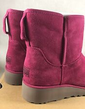 UGG KRISTIN CLASSIC SLIM LONELY HEARTS SUEDE WEDGE BOOTS Valentines Pink 1012497