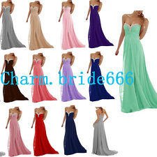 STOCK Long Bead Chiffon Formal Bridesmaid Dress Evening Party Prom Gown SZ 6-18