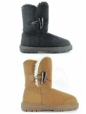 Ladies ELLA Faux Suede Fur Trim Lined Toggle Flat Winter Warm Boots Size- Sophie
