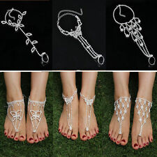 NEW Bridal Crystal Beach Barefoot Sandals Foot Toe Ring Ankle Bracelet Jewelry