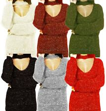 Womens Ladies Choker Neck Lurex Chunky Knitted Jumper High Neck Sweater Top