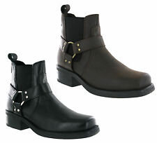 Gringos Cowboy Western High Harley Mens Tall Leather Pull On Heeled Boots UK6-12