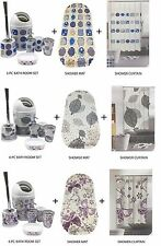 6Pc Bathroom Accessory Set with Shower Curtain + Anti Non Slip Bath/Shower Mat