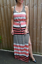 New FIGLEAVES striped jersey racer back long MAXI DRESS S M L UK 8 10 12 14 16