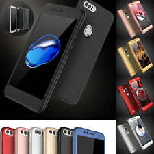 HUAWEI P8 P9 P10 Lite P9 P10 Plus Hybrid 360° FULL PROTECTIVE CASE COVER +Glass