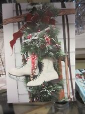 New lovely Lighted battery run canvas Christmas Holiday picture hang or easel #4
