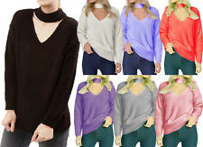 Womens Ladies Choker Neck Chunky Knitted Jumper High Neck Casual Sweater Top
