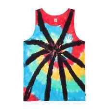 HUF LEAVES TIE DYE TANK/VEST TOP BLACK WASH