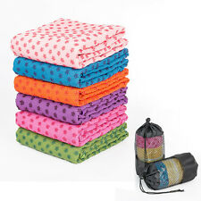 Yoga Non-skid Towel Microfiber Swimming Blanket with Mesh Carry Bag 72 x 25in