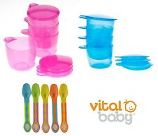 Vital Baby Prep and Go Food Weaning Pots, Baby Food Pots & Soft Tip Baby Spoons
