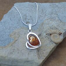 New 925 Silver & Cognac Baltic Amber Heart Pendant Necklace Jewellery