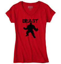 BEAST - Mode Workout T-Shirt Gym Fitness Muscle Bodybuilding Junior V-Neck Tee