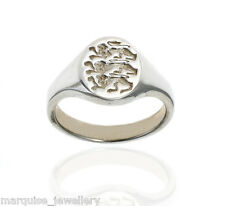 925 Sterling Silver Gents Signet Ring - Three Lions.