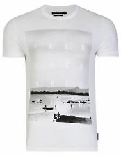 French Connection Graphic Print Summer Beach T-Shirt Slim Fit White Cotton Tee