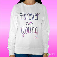 """SUDADERA MUJER LUZ SUÉTER BLANCO """" FOREVER JOVEN """" ROAD TO HAPPINESS"""