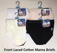 3 12 Womens Ladies Front Laced Mama Briefs 100% Cotton Underwear Knickers Size