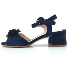 Les Venues 5226 sandalo donna in camoscio blu denim con fiore applicato
