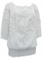 ASHLEY STEWART SIZE 12-24 WHITE ON/OFF SHOULDER EMBROIDERED CROCHET COTTON TOP
